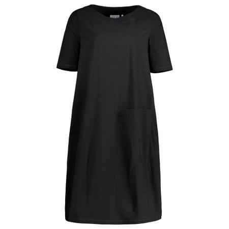 Foil Deep Pockets Cocoon Hem Dress - Black