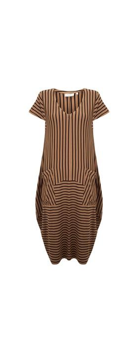Foil Software Update Pocket Dress Cinnamon Stripe