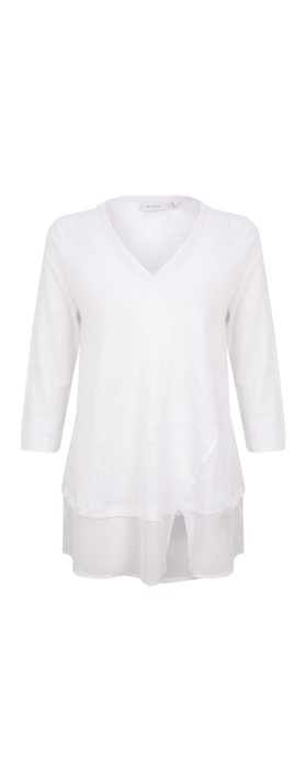Foil Split Infinitive Linen Top White