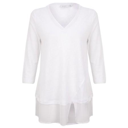 Foil Split Infinitive Linen Top - White