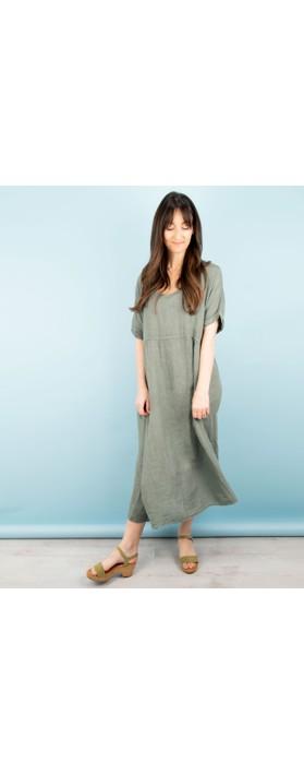 Amazing Woman Tesa Midi Linen dress  Khaki