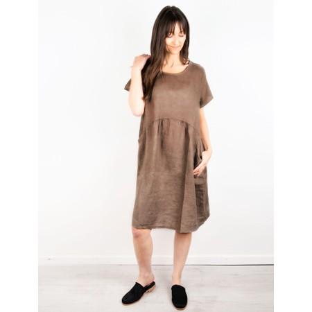 Amazing Woman Lexia Linen Dress  - Brown