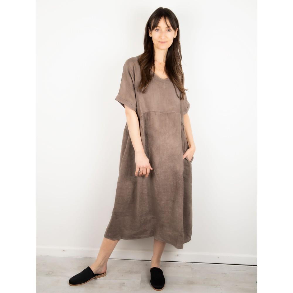 Amazing Woman Tesa Midi Linen dress  Fango