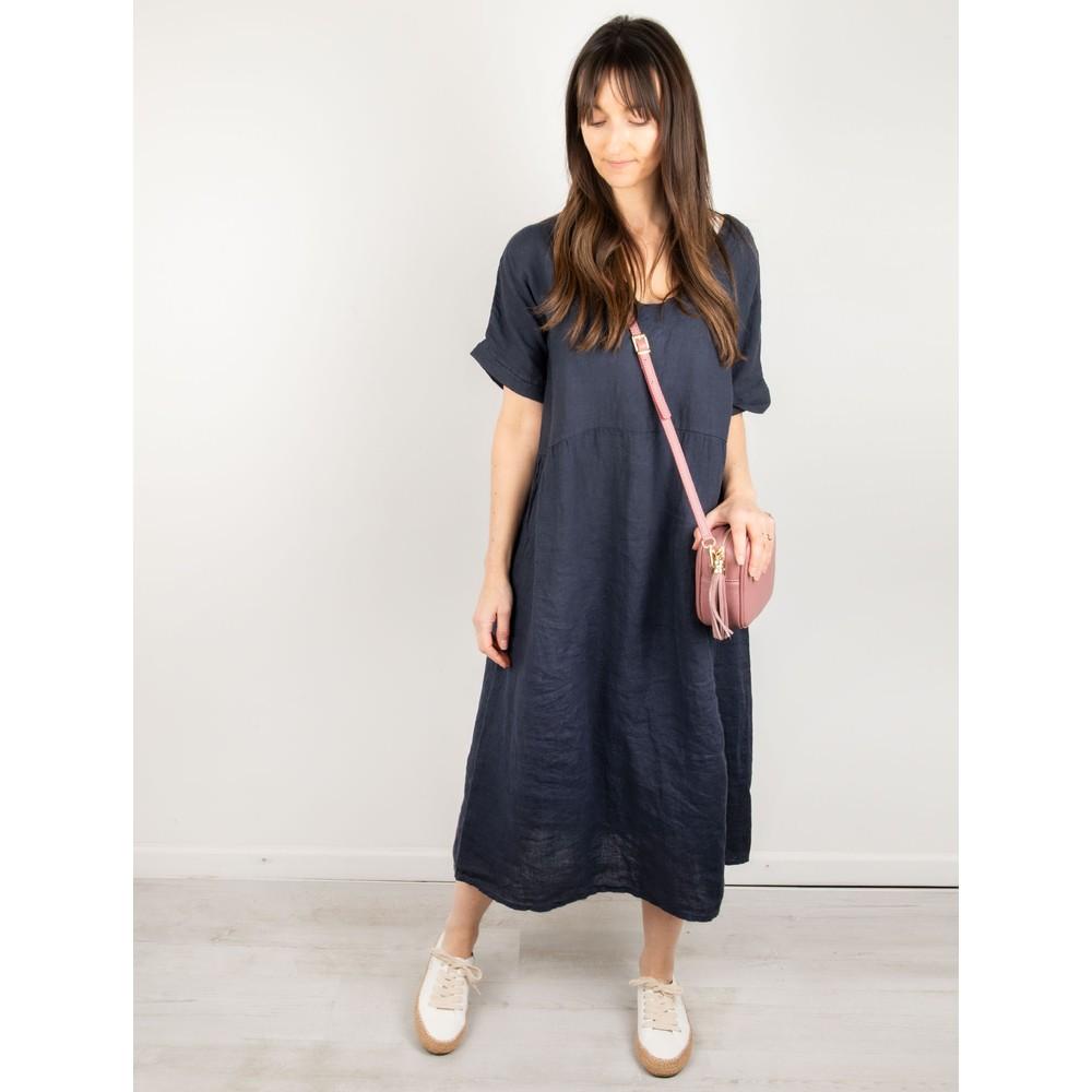 Amazing Woman Tesa Midi Linen dress  Navy