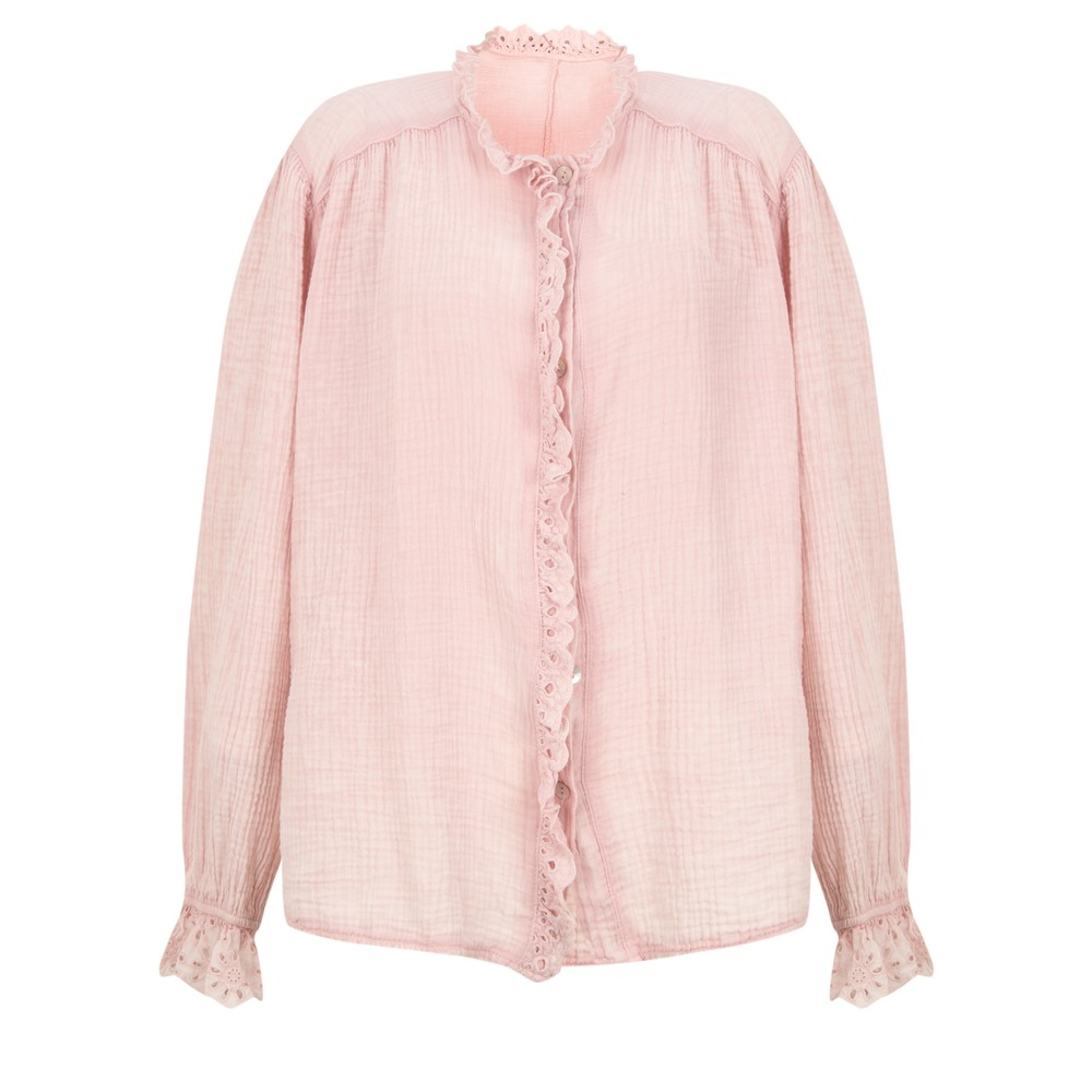 TOC Sienna Broderie Anglaise Trim Shirt Pale Pink