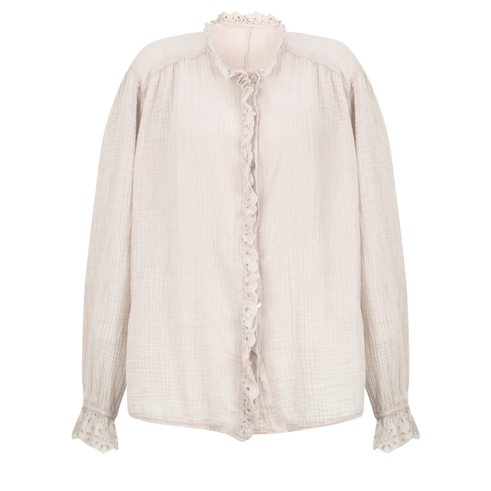 TOC Sienna Broderie Anglaise Trim Shirt Stone
