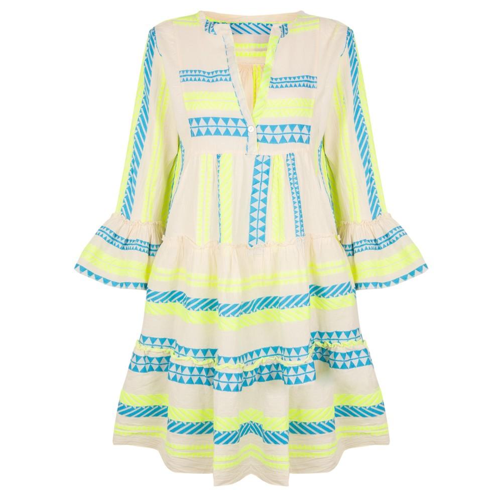 TOC Ella Greek Style Tunic Dress Neon Blue / Yellow