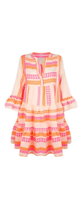 TOC Ella Greek Style Tunic Dress Neon Orange / Pink
