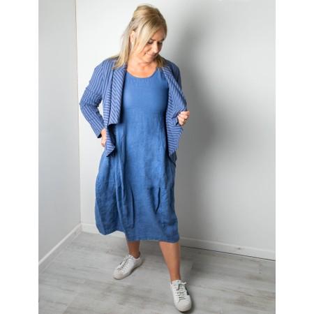Thing Freya 3/4 Sleeve Linen Dress - Blue
