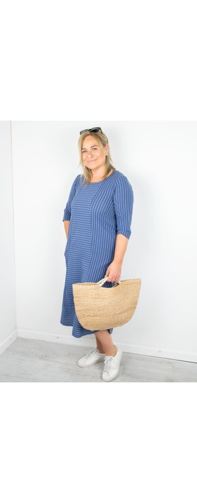Thing Tani Stripe Pannelled Dress Sapphire