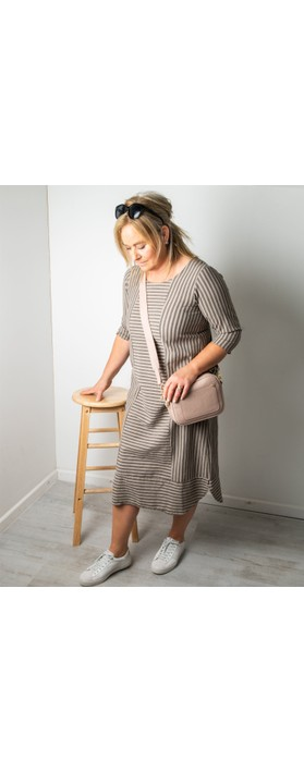 Thing Tani Stripe Pannelled Dress Sand