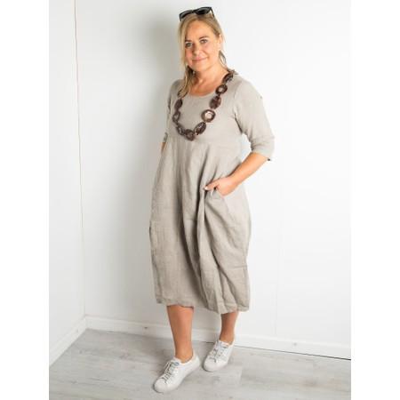 Thing Freya 3/4 Sleeve Linen Dress - Beige