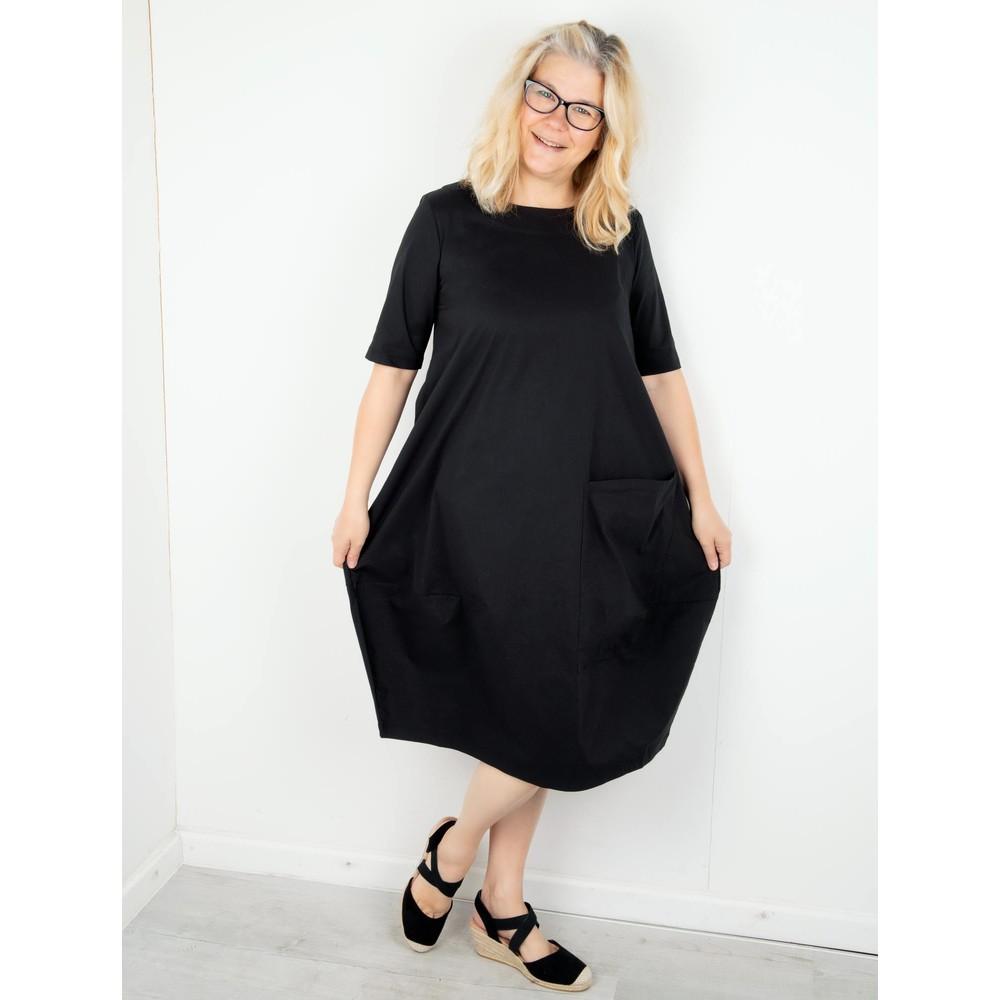Foil Deep Pockets Cocoon Hem Dress Black