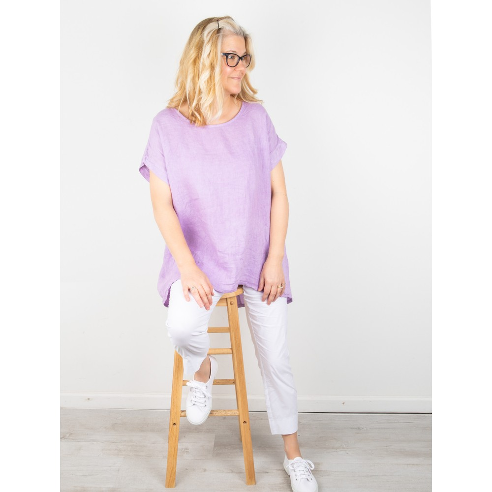 Amazing Woman Melia Short Sleeve Linen Top Lilac