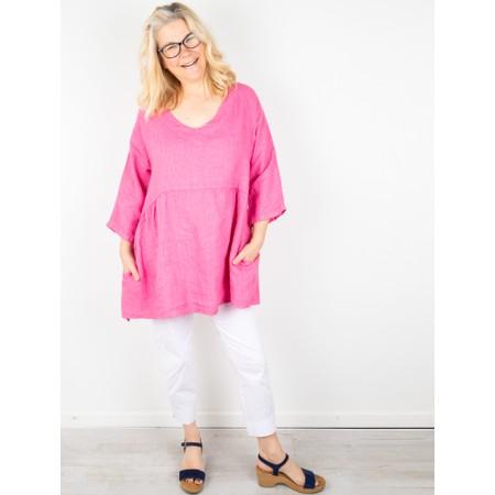 Amazing Woman Tesa V Neck Top - Pink