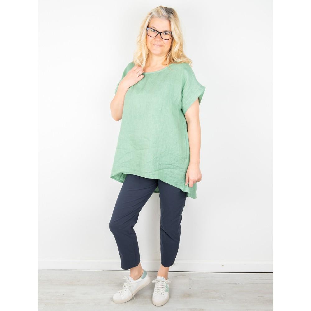 Amazing Woman Melia Short Sleeve Linen Top Avocado