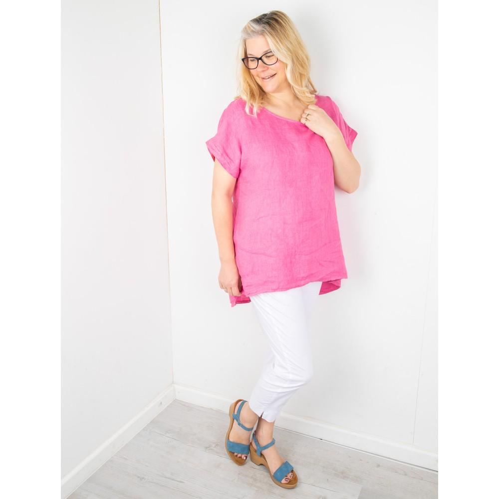 Amazing Woman Melia Short Sleeve Linen Top Pink Confetti