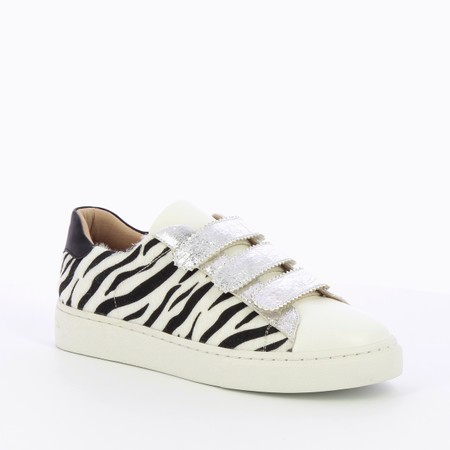 Vanessa Wu Manon Zebra Print Velcro Trainer  - Multicoloured