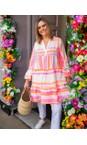 TOC Neon Orange / Pink Ella Greek Style Tunic Dress