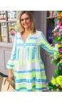 TOC Neon Blue / Yellow Ella Greek Style Tunic Dress