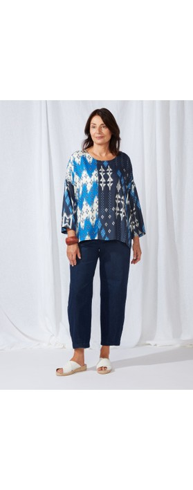 Sahara Mixed Ikat Print Top Multi
