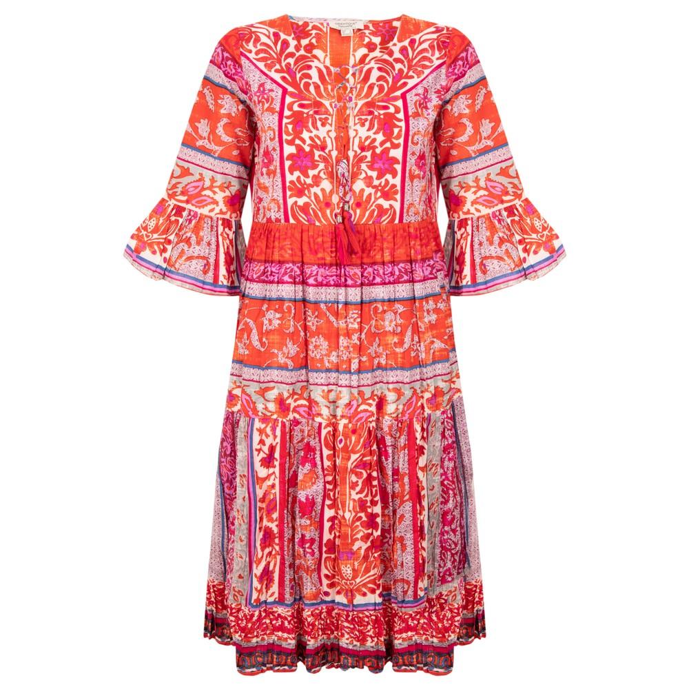 Orientique Ibiza Boho Dress Red Pink Multi