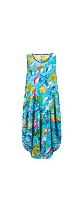 Orientique Las Palmas Bubble Dress Blue Aqua Multi A