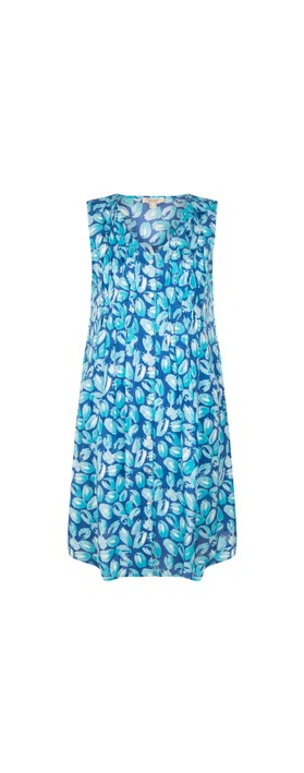 Orientique Las Palmas Pleated Dress Blue Aqua Multi B