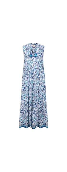 Orientique Tenerife Maxi Dress Blue White Multi