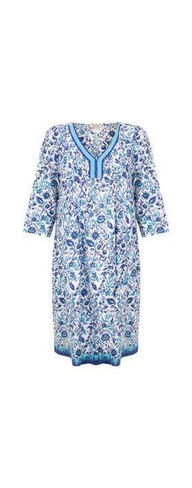 Orientique Tenerife Tunic Dress Blue White Multi