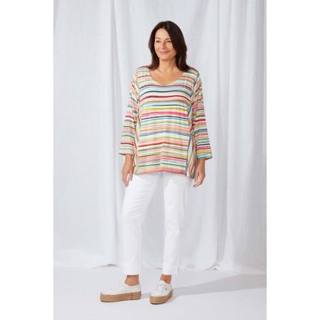 Sahara Multi Colour Stripe Jersey Top - Multicoloured