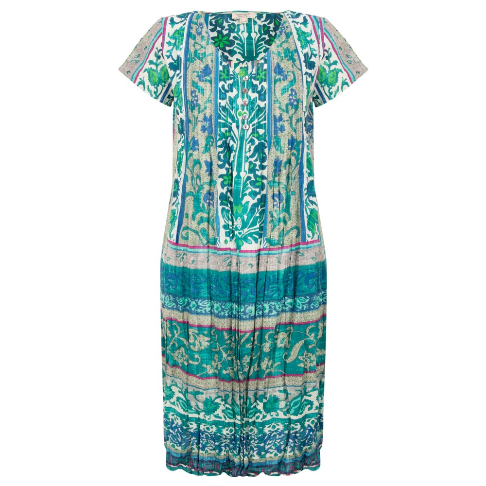 Orientique Ibiza Easy Fit Pleated Dress Green Pink White Multi
