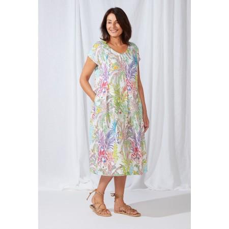 Sahara Chalk Jungle Linen Dress - Multicoloured