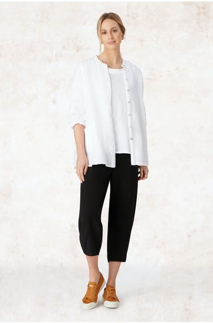 Texture Linen Crop Bubble Pant main image