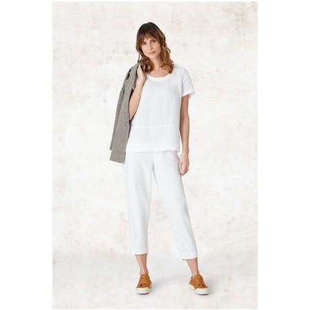 Sahara Texture Linen Crop Bubble Pant - White