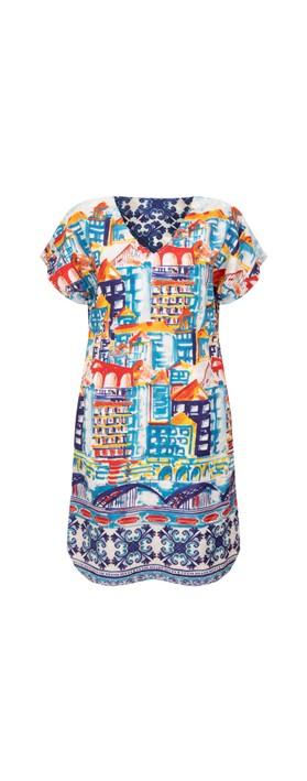Orientique Algarve Curved Hem Reversible Dress Blue Multi
