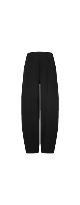 Sahara Texture Linen Crop Bubble Pant Black