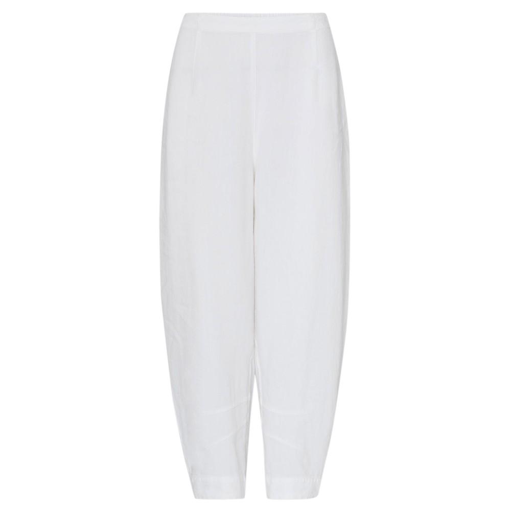 Sahara Texture Linen Crop Bubble Pant Optic white