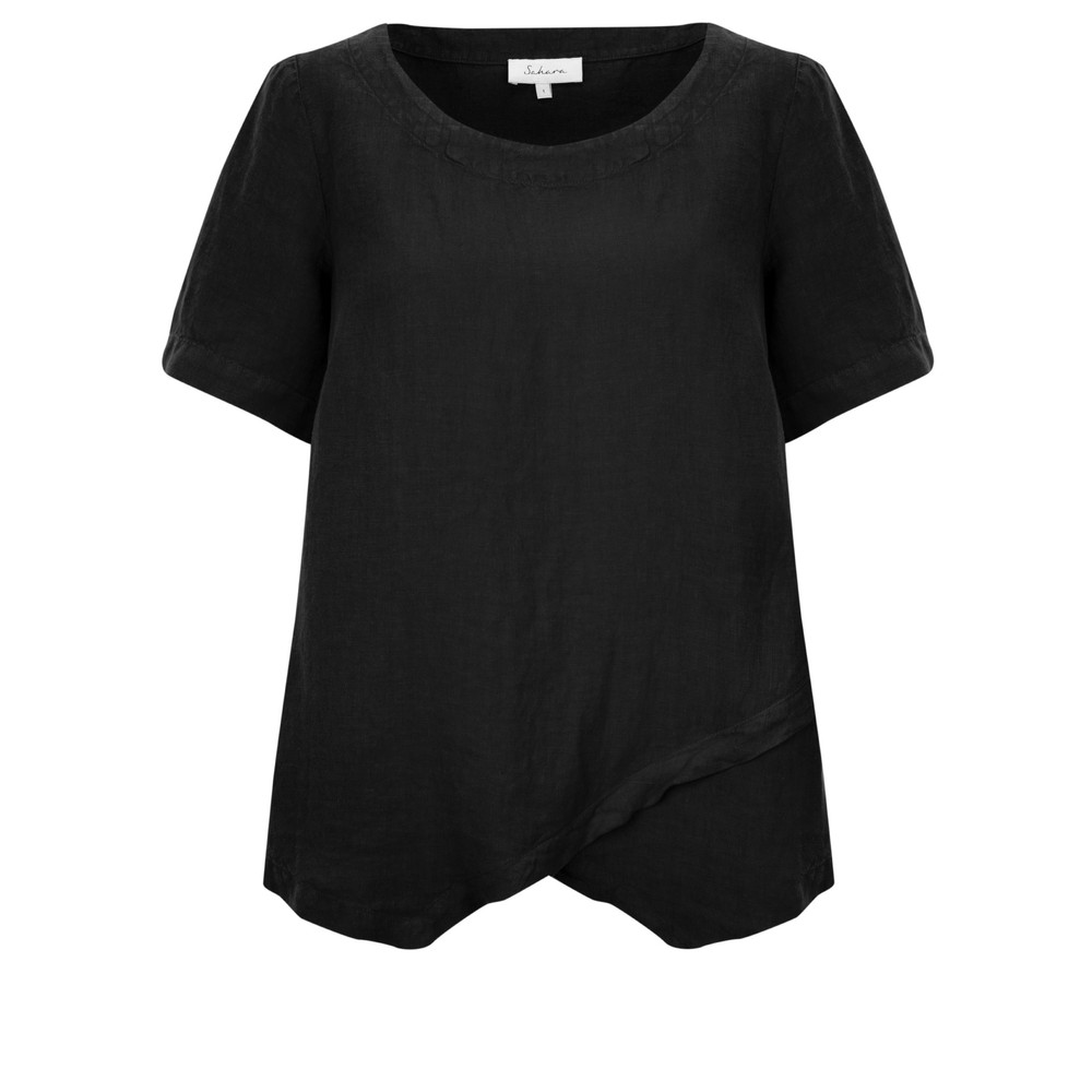Sahara Linen Asymmetric Top Black