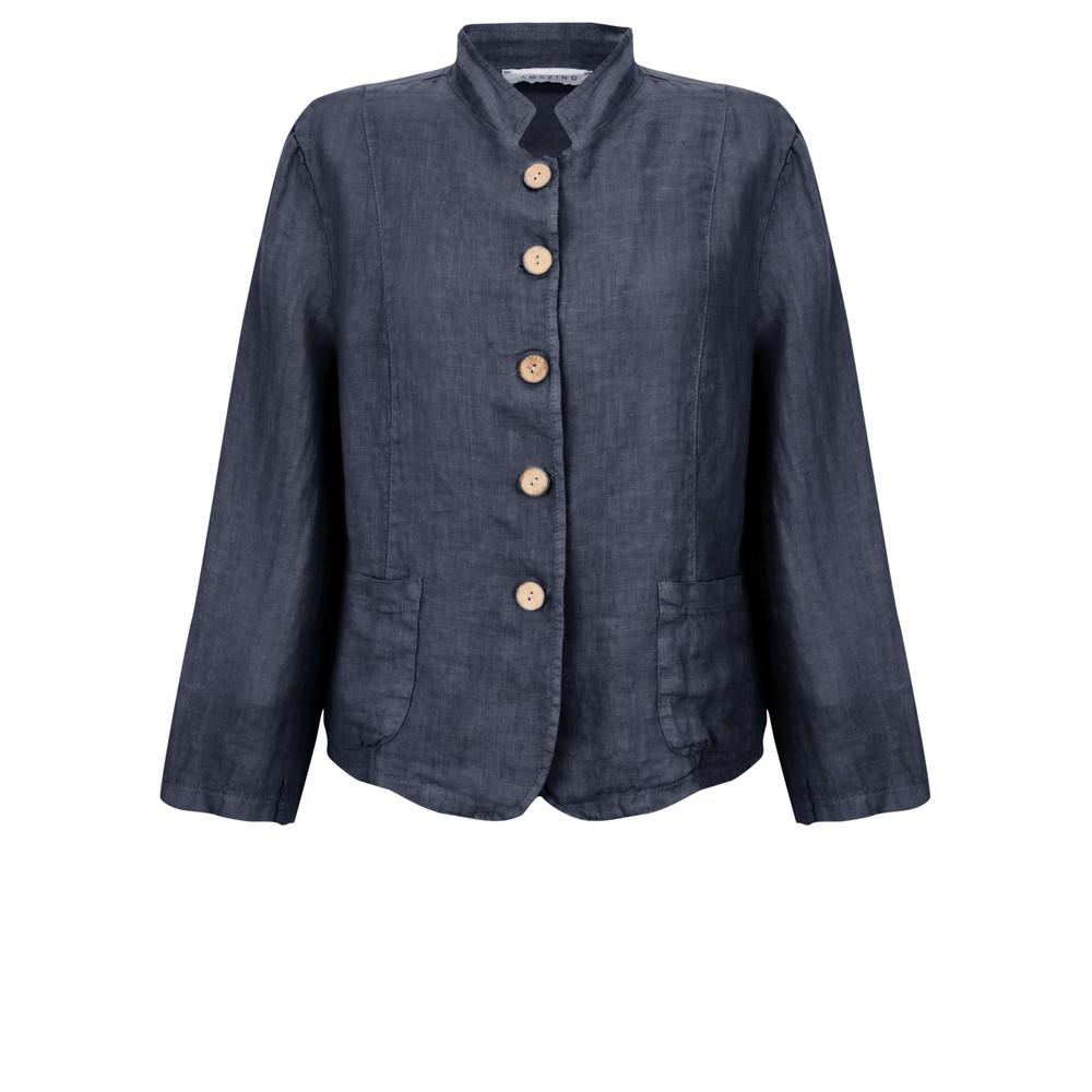 Amazing Woman Katia Front Pocket Short Jacket Navy Blue