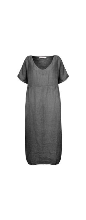 Amazing Woman Tesa Maxi Linen Dress Charcoal