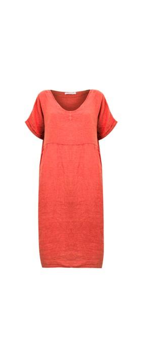 Amazing Woman Tesa Midi Linen dress  Coral