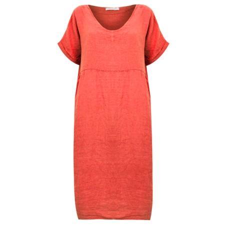 Amazing Woman Tesa Midi Linen dress  - Orange
