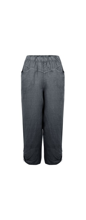 Amazing Woman Orla Cropped Linen Trouser Charcoal