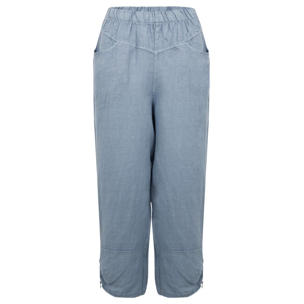 Amazing Woman Orla Cropped Linen Trouser Denim Blue