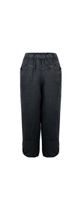 Amazing Woman Orla Cropped Linen Trouser Navy