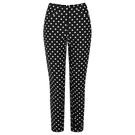 Robell Bella 09 Polka Dot Print Trouser - Black