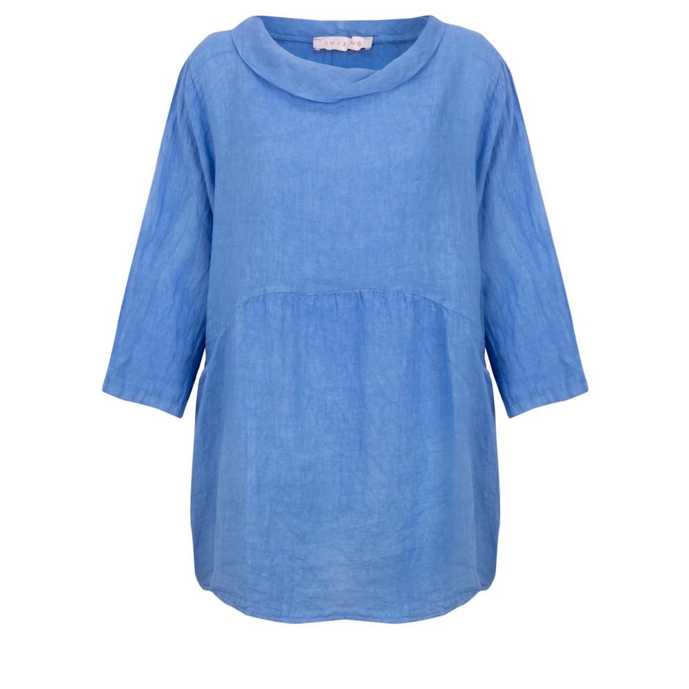 Amazing Woman Lexia Linen Top Blue