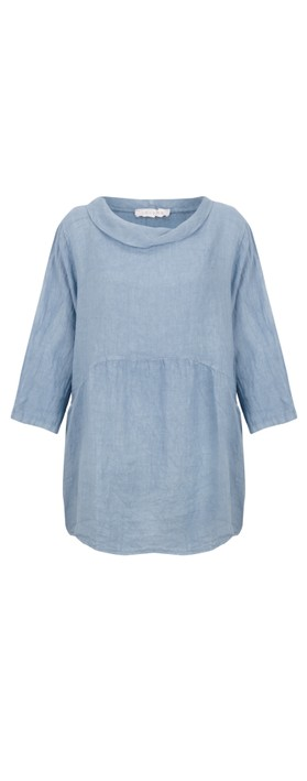 Amazing Woman Lexia Linen Top Denim Blue