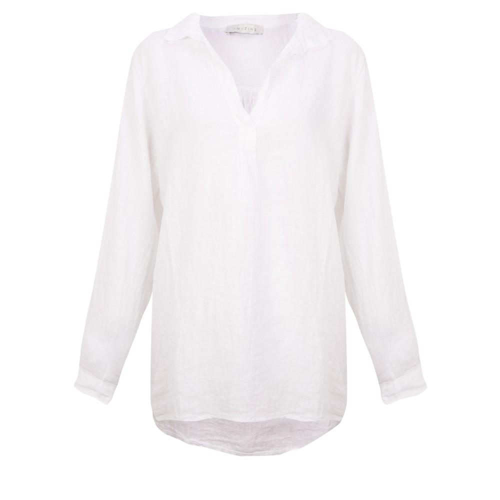 Amazing Woman Bela Long Sleeve Linen Top White